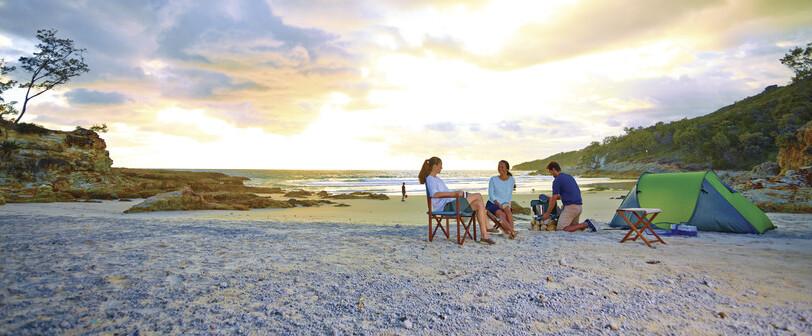 a group of friends camping on Stradbroke Island