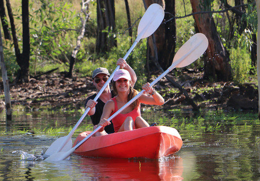 people kayaking in Cairns on the Barron River