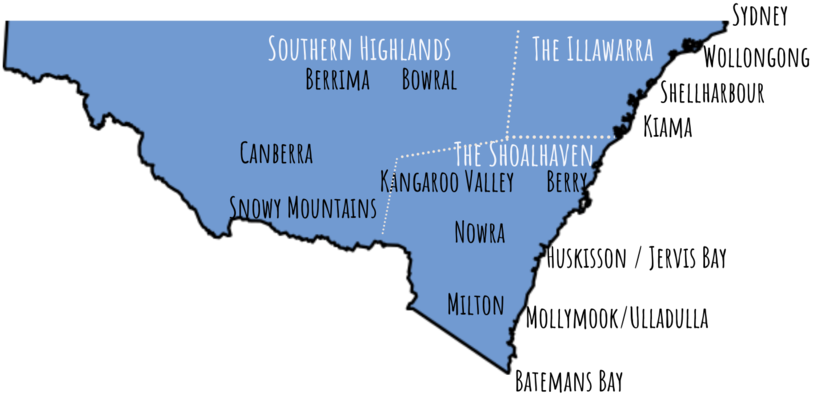 a map of the South Coast of NSW