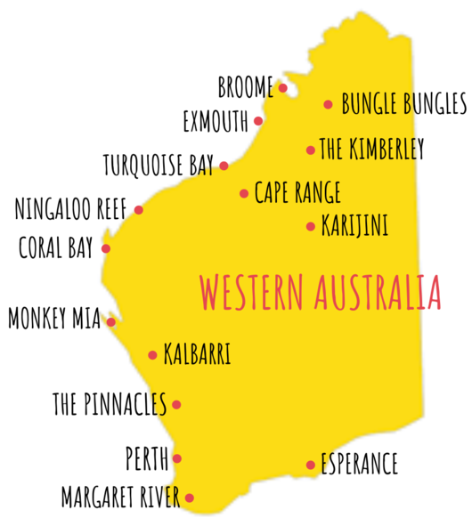 A map of Western Australia detailing the places to visit based on this webpage
