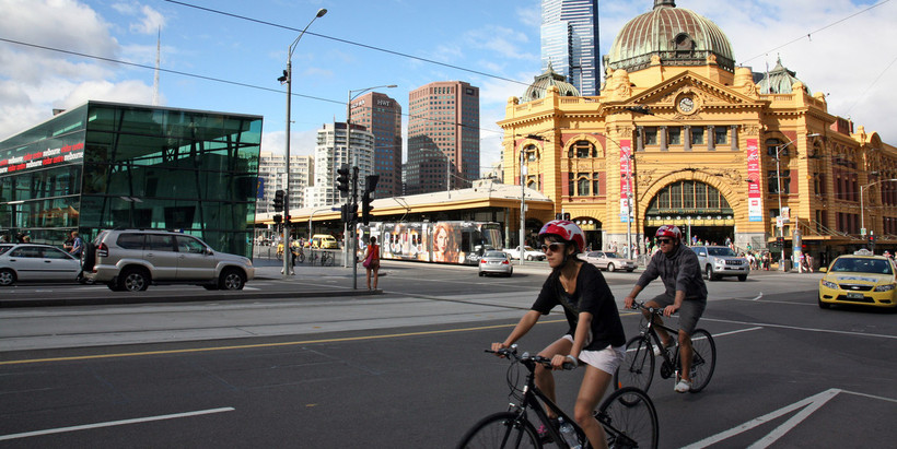 People cycling in the Melbourne CBD.