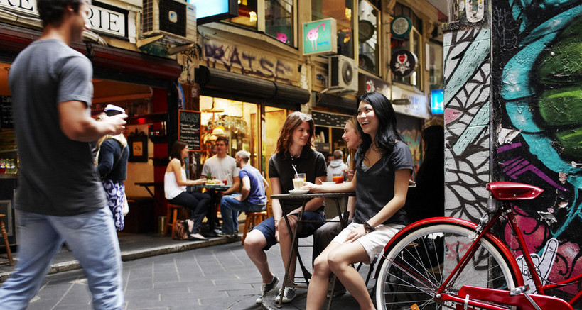 people enjoying one of Melbourne's many laneway cafes and coffee.