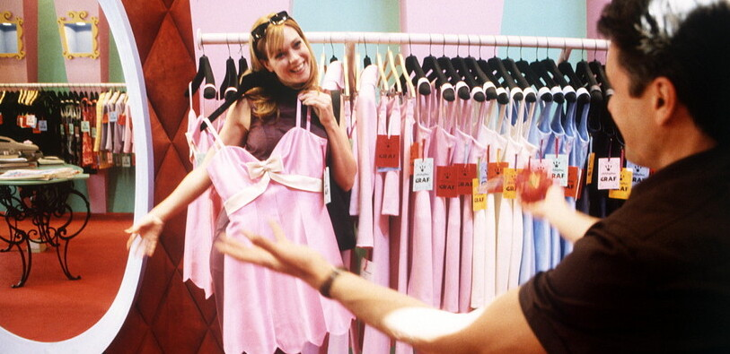 a woman shopping for a one-off dress in Melbourne.