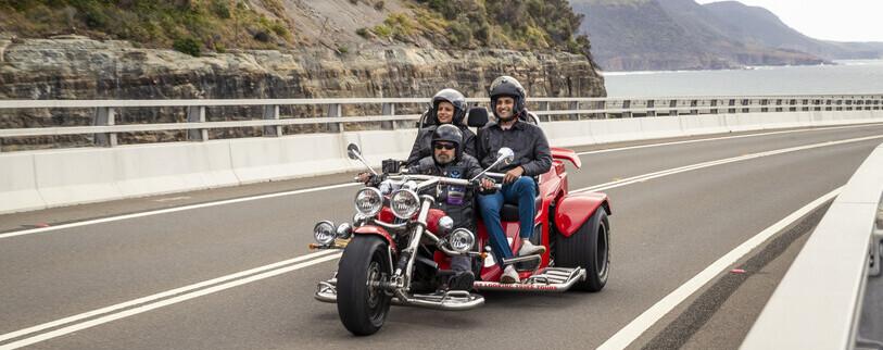 a couple enjoying a scenic trike tour through the Illawarra