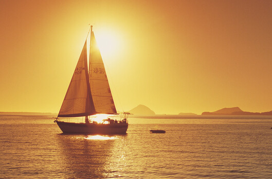 A sailig boatat Port Stephens, near the Hunter Valley.