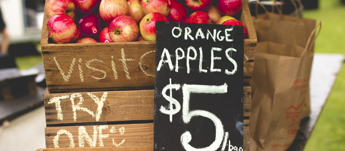 A crate of fresh locally grown apples at theOrange markets in regional NSW