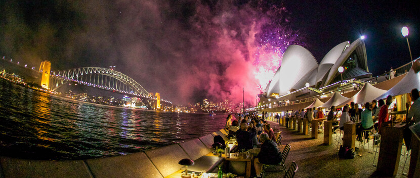 fireworks going off over the Sydney Opera House