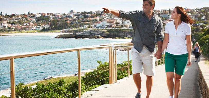 A couple enjoying thesea and fresh air on one of Sydney's many coastal walks