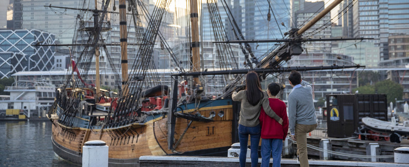 The replica of Captain James Cook's 'The Endeavour' at the Australian National Maritime Museum