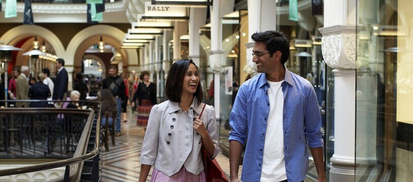 a couple shopping at Queen Victoria Building in the city