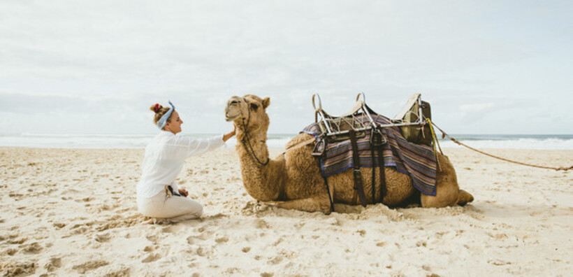 A woman patting a camel on the beach at Port Macquarie
