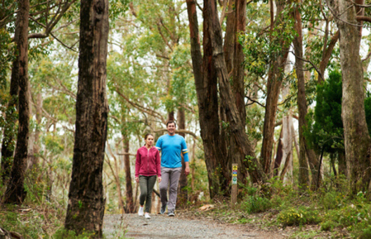 A couple hiking in the Adelaide Hills in Cleland Conservation Park.