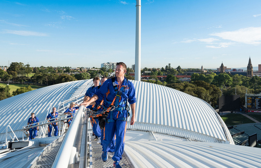 People on an Adelaide oval rooftop