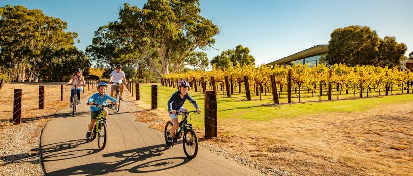 A family riding their bikes around the Barossa valley vineyards
