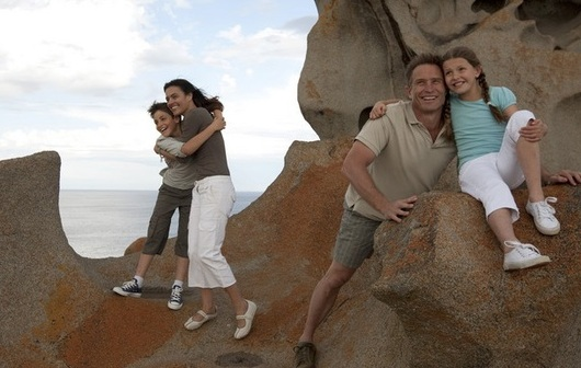 a family exploring the RemarkablesinMount Remarkable National Park