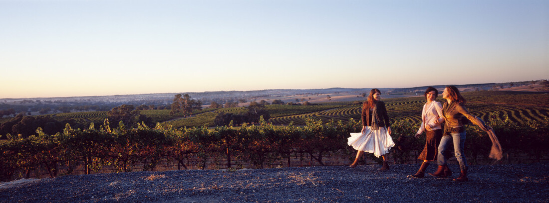3 friends dancing and laughing in the South Australian wineries