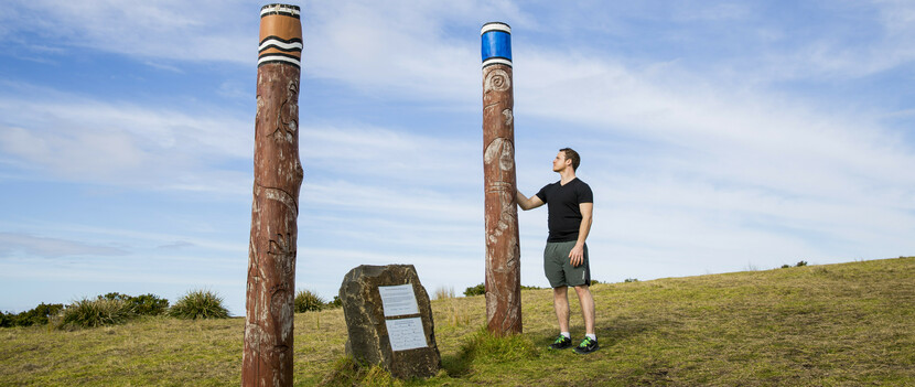 the 'Dreaming Poles' on theKiama coastal walk