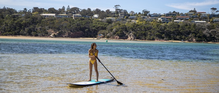 a woman stand-up paddleboarding on the South Coast.