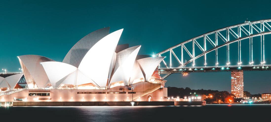 Sydney Opera House lit up atnight
