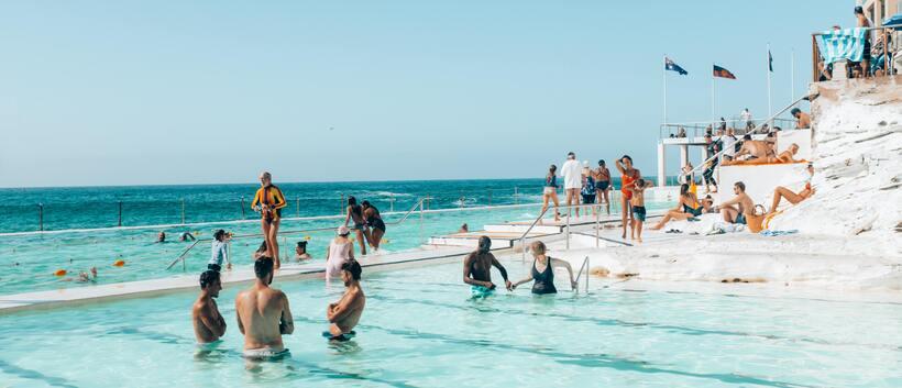 People swimming at Bondi Icebergs harbour pool in Sydney