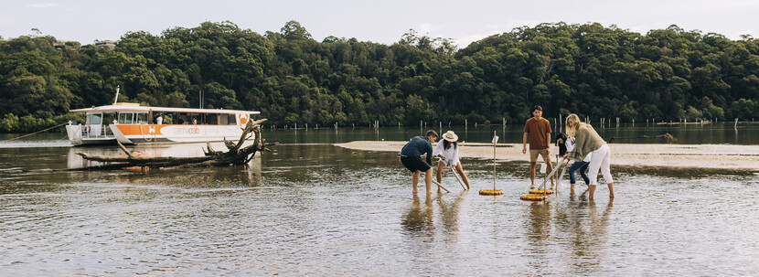 People pumping for yabbies before the catch a crab