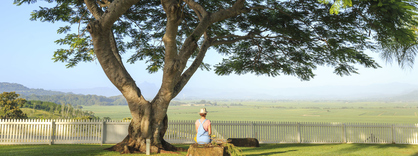 a woman sitting in a farm paddock and enjoying in the clean air and open spaces on the Tweed Coast