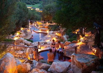 Many people soaking in the hot springs of Daylesford.
