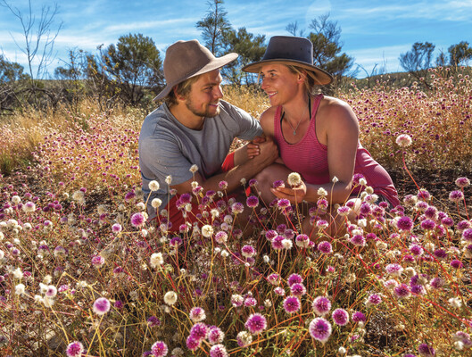 A young couple sitting in a field of wildflowers - Batchelors Buttons (Gomphrena canescens) -in Karijini National Park