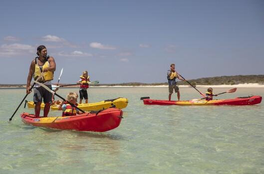 People canoeing in Shark Bay, as part of their Wula Gura Nyinda Eco Adventure