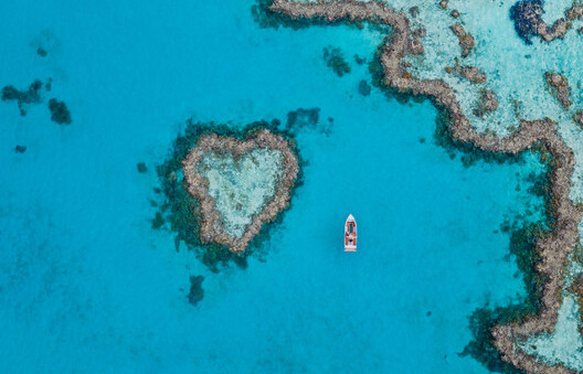 an aerial view of Heart Island in theWhitsundays